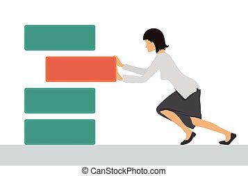 Benchmarking concept illustration, vector. Woman pushes the...