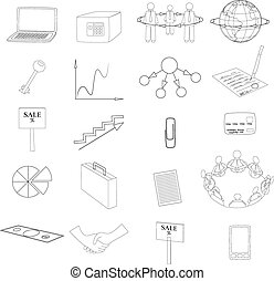 Set with Business Contour Icons - Set with 20 Business...