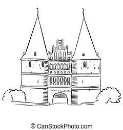 Lubeck Old Gate, German Tourist Landmark, Hand drawn Vector...