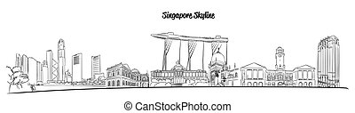 Singapore Hand drawn Vector Skyline
