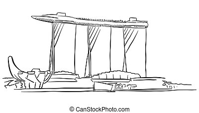 Singapore Marina Bay Outline Sketch, Famous Destination...