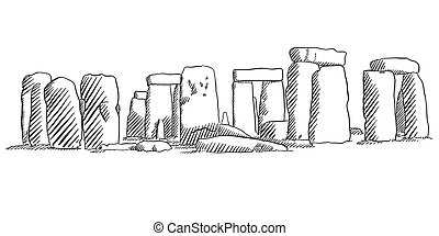 Stonehenge, England Historical Monument Sketch, Famous...