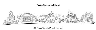 Phuket Thailand Famous Places Banner Panorama, Hand drawn...