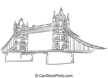 London Tower Bridge Outline Sketched, Famous Destination...