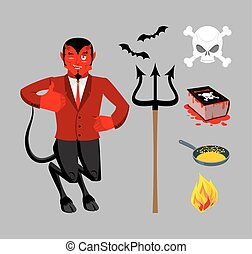 Devil and accessories. Satanic set. Trident and hellfire. Black bats. Frying pan for sinners. Necronomicon magic Book of Dead. Red Demon. Prince of darkness and underworld. Lucifer Boss. Religious and mythological character, supreme spirit of evil.