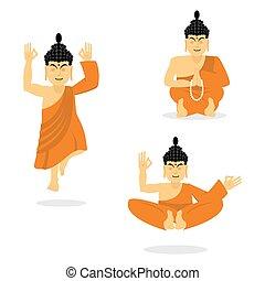 Buddha meditating isolated. Indian god on white background....