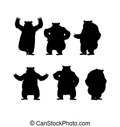 Bear set silhouette. Grizzly various poses. Expression of emotions. Wild animal yoga. Eevil and good. Sad and happy animal. Big strong predator