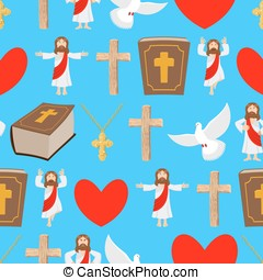 Holy background. Biblical seamless pattern. Jesus and Bible. Cross and white dove. Religious sign for believers texture. Christ Catholic and Christian hero savior