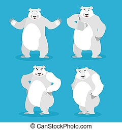 Polar Bear set of different poses. Expression of emotions. Wild beast and evil good. Sad and happy animal. Big strong predator