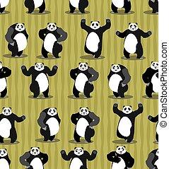 Panda seamless pattern. Chinese bear ornament. Set wild...