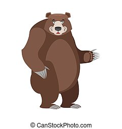 Bear in white background. Good happy wild animal. Forest...