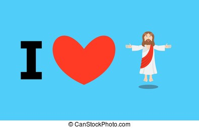 I love Jesus. Symbol of heart and Son of God. Biblical...