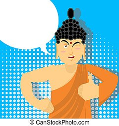 Buddha Thumbs up in pop art style. Indian god. Sign all...