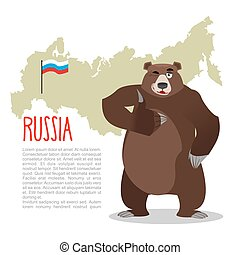 Russian Bear and Russian map Wild animal showing thumbs up...