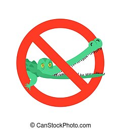 Stop crocodile. Prohibited alligator. Strikethrough caiman....