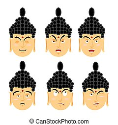 Emotions buddha Set expressions avatar Indian god Good and...