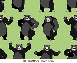 baribal seamless pattern. American black bear ornament. Set...