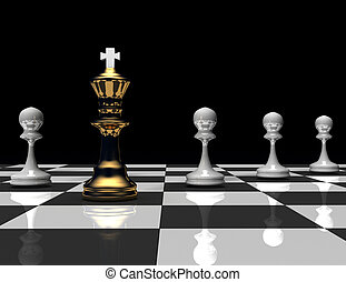 3d chess king and pawn. leader concept