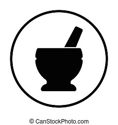 Mortar and pestle icon Thin circle design Vector...