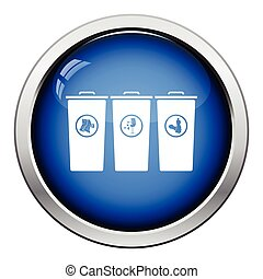 Garbage containers with separated trash icon Glossy button...