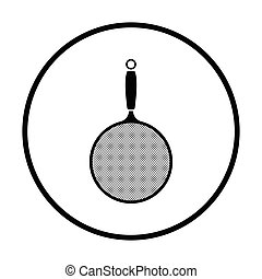 Kitchen colander icon. Thin circle design. Vector...