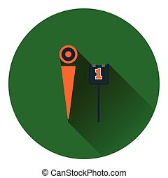 American football sideline markers icon. Flat color design....