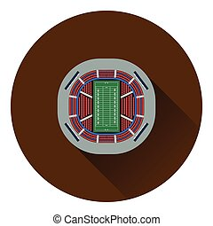 American football stadium birds-eye view icon Flat color...