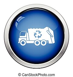 Garbage car recycle icon Glossy button design Vector...