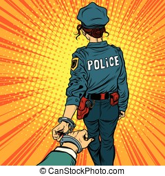 Follow me, a woman police officer is arrested by the hand...
