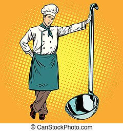 Professional chef with ladle pop art retro vector. Cooking...
