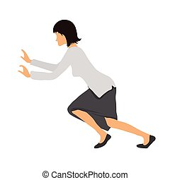 Bussineswoman woman pushing something. Vector illustration....