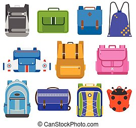 School bags vector set. - Kids school bags isolated on white...