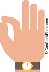Silhouette hand showing symbol Ok vector illustration - Okey...