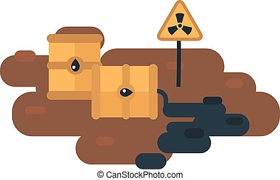 Nuclear waste vector illustration. - Plastic containers and...