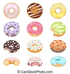 Donuts vector set. - Set of cute sweet colorful donuts....