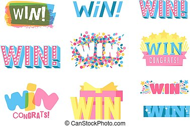 Win text vector illustration - Win sign with colour confetti...