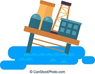 Sea oil rig offshore platform crash vector illustration.