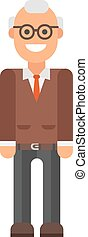 Grandfather professor portrait vector illustration., senior...
