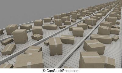 Various sized cartons moving on conveyors, perspective view....