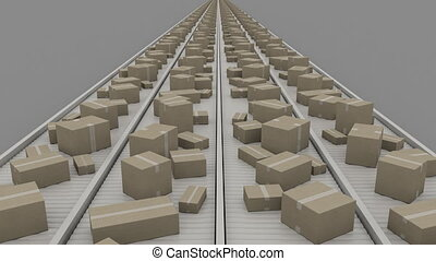 Boxes of different size moving on conveyers, symmetric...