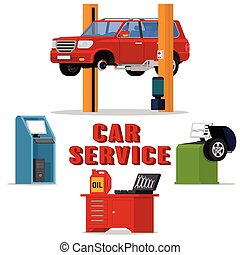 Vector concept car services - car repair and diagnostics....