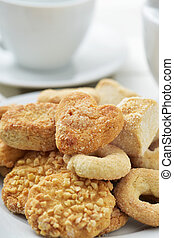coffe or tea and shortbread biscuits - closeup of an...