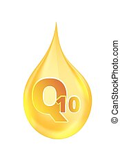 Coenzyme Q10. Gold vector oil icon. - Coenzyme Q10. vector...