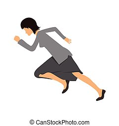 Woman in business clothes running sprint, - Businesswoman in...