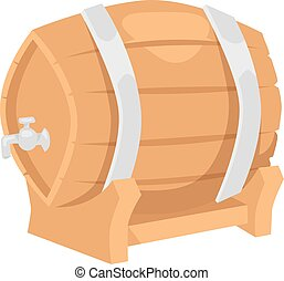 Beer barrel vector illustration - Wooden oak barrel isolated...