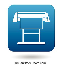 Large format inkjet printer icon in simple style on a white...