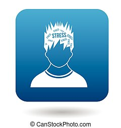 Word stress in the head of man icon