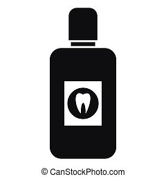 Bottle of mouthwash icon, simple style - Bottle of green...