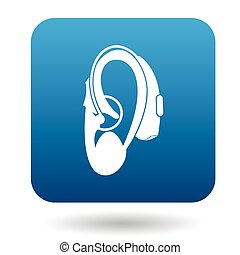 Hearing aid on an ear icon icon, simple style