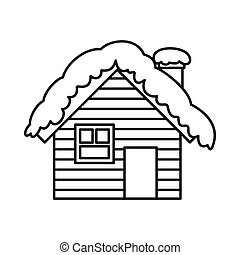 Wooden house covered with snow icon, outline style - Wooden...